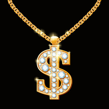 Dollar sign with diamonds on gold chain. Hip-hop style necklace