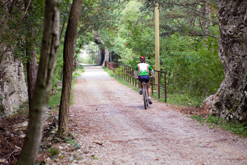 Mountain Bike cyclist riding track