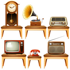Retro antiques on wooden table