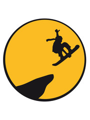 sun evening jump night moon jump stunt cliff mountain snowboard