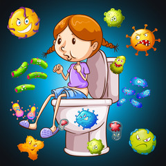 Bacteria all over the toilet