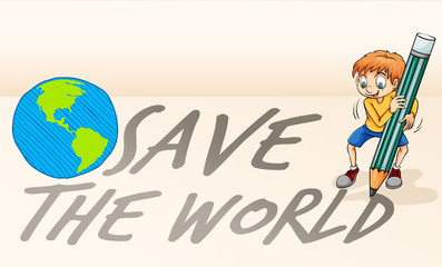 Save the world theme with boy and earth