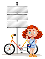 Girl standing next to bike and signs