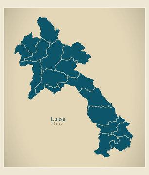 Modern Map - Laos with provinces LA