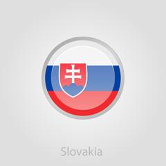 Slovakia flag button, vector illustration