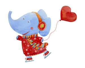 Elephant  ice skating and holding a balloon in the shape of heart, watercolor illustration