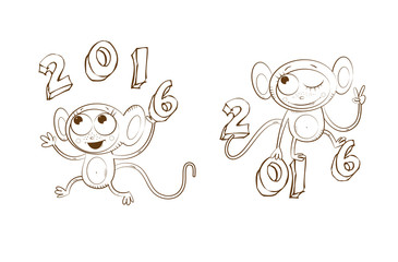 Symbol of new year monkey. Two logos. Vector image.