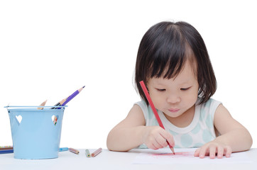 Portrait of a little Asian girl drawing a sketch