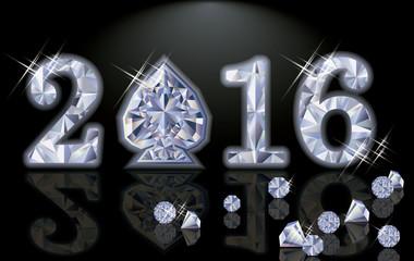 Happy 2016 New year diamond poker spade vector illustration
