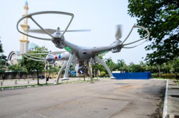 Drones in flight at Kuala Lumpur, Malaysia.