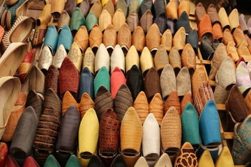 Acrylic Prints Morocco Shoes in the Fez souk