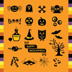 Cute Halloween black silhouette icons set on orange background