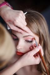 Professional  artist applying makeup.