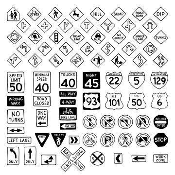 Vector set of doodles road signs.