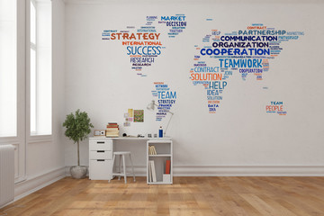 Weltkarte als Wandtattoo im Home Office