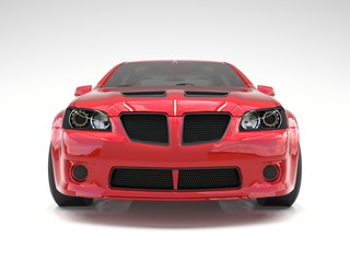 Sports car front view. The image of a sports red car on a white