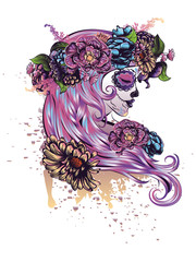 Sugar Skull Girl in Flower Crown