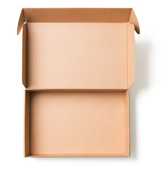 Open cardboard box top view isolated