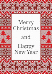 Christmas card design with detailed pattern made from red, white and grey stitches and copy space for a text