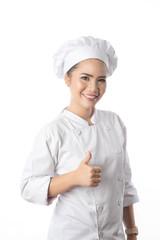 Woman Chef white background in studio shot