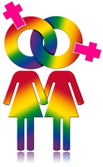 Lesbians Relationship - Rainbow Colored Symbol / Lesbians symbol with the colors of the rainbow - Lesbian relationship concept. Isolated on white background