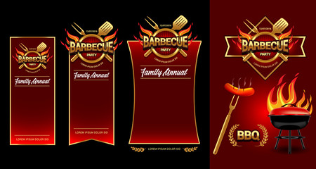 Barbecue party logo, party banner, invitation template. BBQ brochure menu design.Vector illustration.