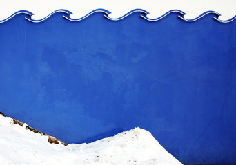 Wave color wall texture with snow.