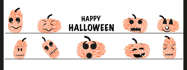 Funny halloween pumpkin with finger prints vector greeting