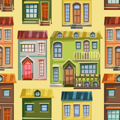 Seamless pattern with city houses facades. Cartoon vector illustration.