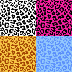 Leopard skin seamless repeated vector pattern. Set of 4 differen