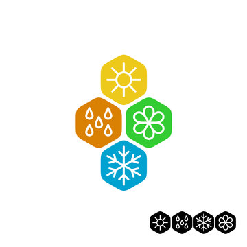 All season symbol. Winter snowflake, spring flower, summer sun,