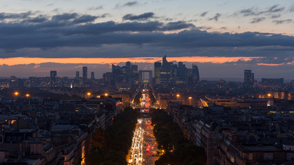 French La Defense during night. The famous business district in Paris, France