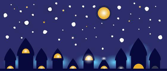 Night lights from city glow vector background