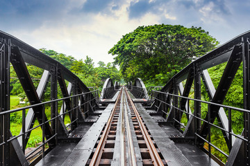 Railway metal bridge of world war history, River Kwai, Thailand