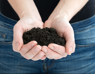 Human offering heap of ground