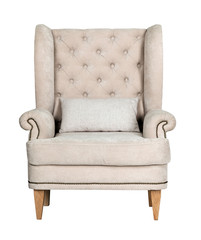 Comfortable classic grey chair isolated