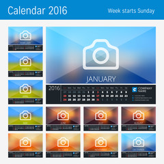 Desk Calendar for 2016 Year. 12 Months. Place for Photo, Logo and Contact Information. Week Starts Sunday. Vector Stationery Design. Print Template.