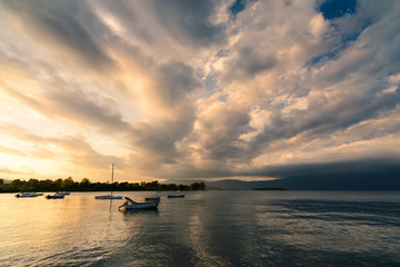 Sunset with fishing boats. Corfu. Greece