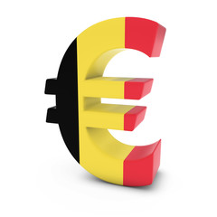 Euro Symbol textured with the Belgian Flag Isolated on White Background