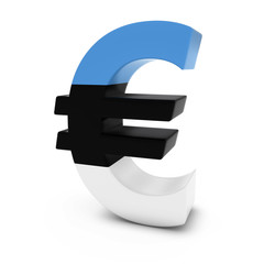 Euro Symbol textured with the Estonian Flag Isolated on White Background