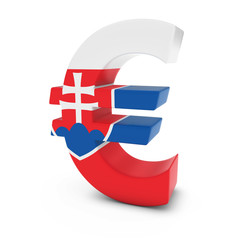 Euro Symbol textured with the Slovakian Flag Isolated on White Background