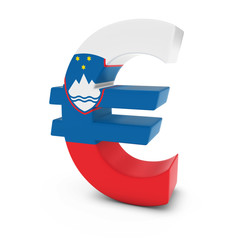 Euro Symbol textured with the Slovenian Flag Isolated on White Background