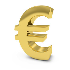 Shiny Gold Euro Symbol Isolated on White Background