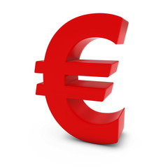 Red Euro Symbol Isolated on White Background
