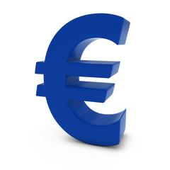 Blue Euro Symbol Isolated on White Background