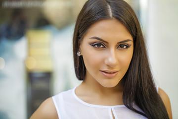 Oriental style. Sensual arabic woman model. Beautiful clean skin