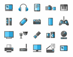 Icons photo and video equipment, non-ferrous, grey, blue.