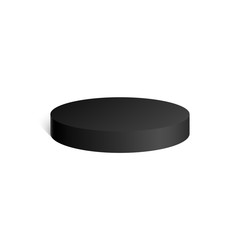 Black cylinder. Hockey puck. 3D geometric shape. mock up. Vector Illustration