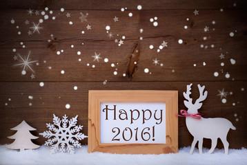White Decoration On Snow, Happy 2016, Sparkling Stars
