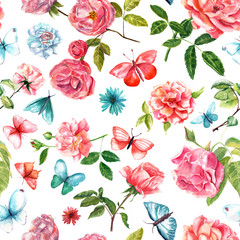 Vintage watercolor roses and butterflies seamless background pat